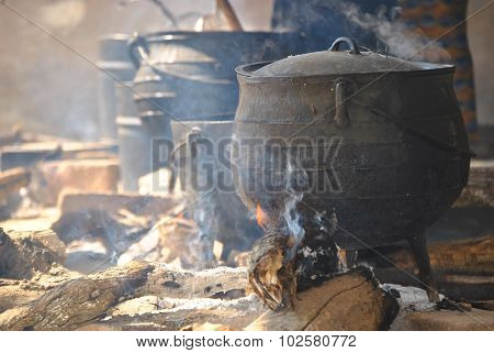Cooking Pots On A Fire