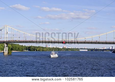 Boat With People On The Dnieper River