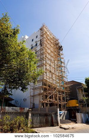 Asian Technology Of Scaffolding Made By Bamboo
