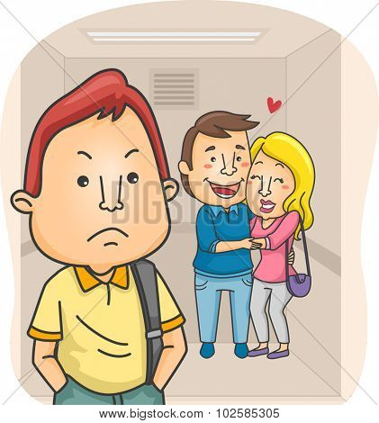 Illustration of a Man Jealous of a Lovey Dovey Couple