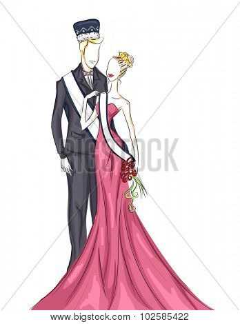 Illustration of a Homecoming Couple on Their Coronation Night