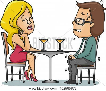 Illustration of a Man Sweating Nervously on His First Date