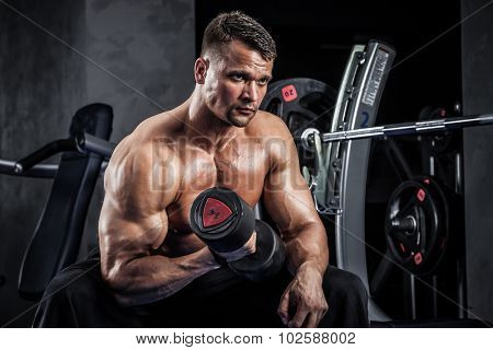 Brutal athletic man pumping up muscles with dumbbells poster