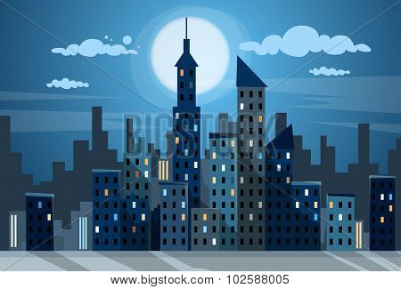 City Skyscraper Night View Cityscape Snow Skyline