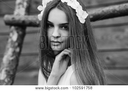 A girl sits on a wooden ladder and looking up poster