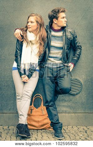 Modern fashion Couple in a moment of mutual Disinterest poster