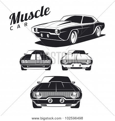 Set of muscle car tamplates for icons and emblems isolated on white background.