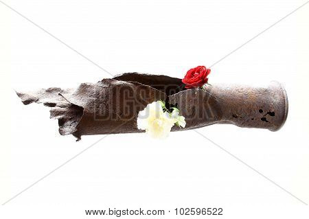 Vintage Rusted Bomb Shot Projectile Shell World War Ii Exploded With Flowers In Hole