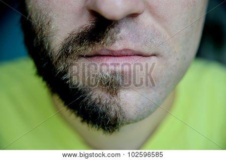 Closeup portraite man with half shaved face beard hair.
