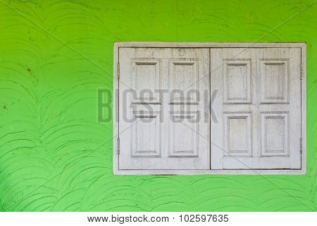 Vintage Window On Green Cement Wall Can Be Used For Background