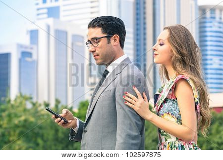 Young Hipster Couple In Moment Of Mutual Disinterest - Concept Of Breaking Up Alienation