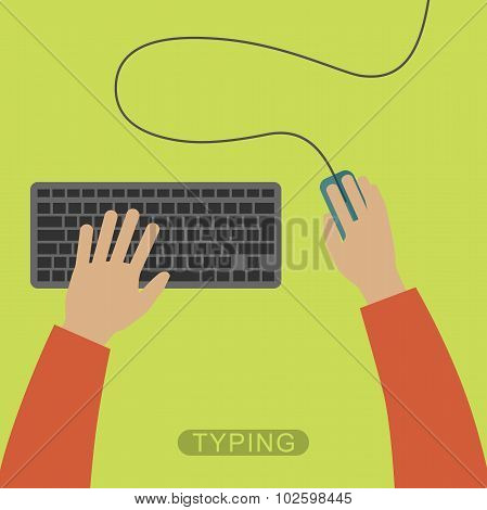 Hands typing on keyboard.