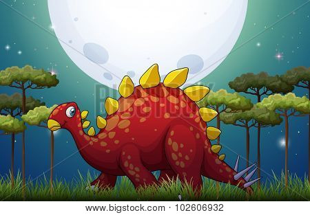 Dinosaur in the field on fullmoon night illustration