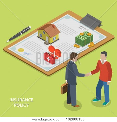 Insurance policy deal flat isometric vector concept. Insurance agent makes deal with client and shakes his hand. poster