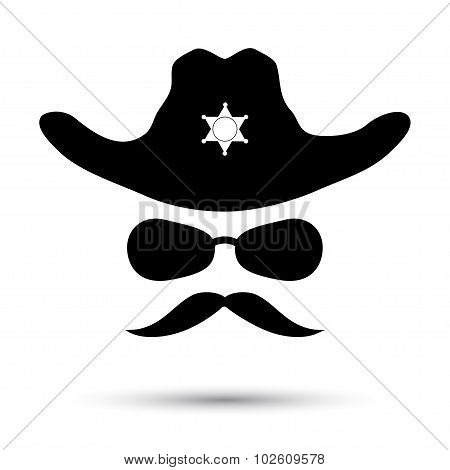 Sheriff black icon isolated on white. Retro hat with star, mustache and glasses. Vector illustration poster