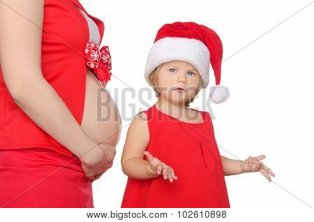 Surprised Child And Pregnant Woman Belly At Christmas