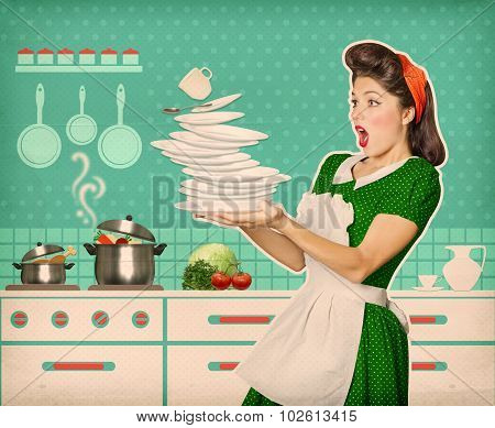 Clumsy Attractive Woman Falling Plates And Dishes