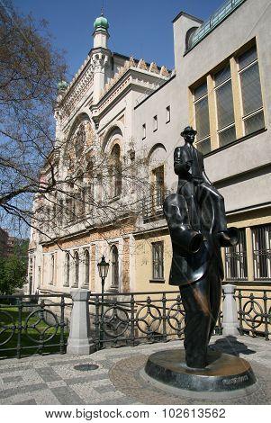 Franz Kafka Sculpture By Spanish Synagogue In Prague, Czech Republic