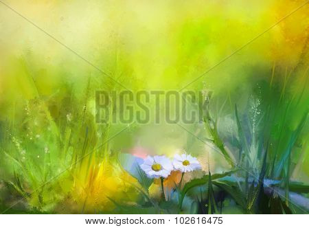 Oil Painting Nature Green Grass Flowers Plants