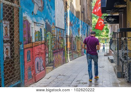 Young Man Walking In Back Street, Istanbul