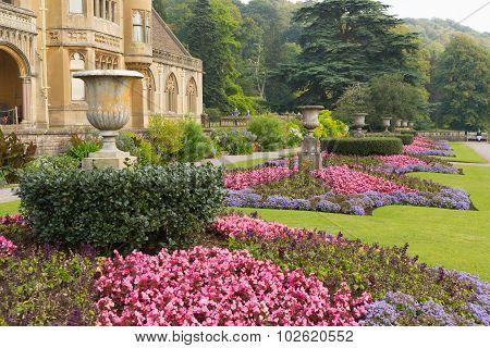 Beautiful flower gardens Tyntesfield House near Wraxall Somerset England UK Victorian stately home