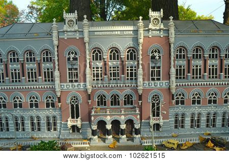 KIEV, UKRAINE - September 23, 2015: Entertaiment Park Ukraine in Miniature (Small scale Ukraine).National Bank of Ukraine.Real building constructed between 1902 and 1934.