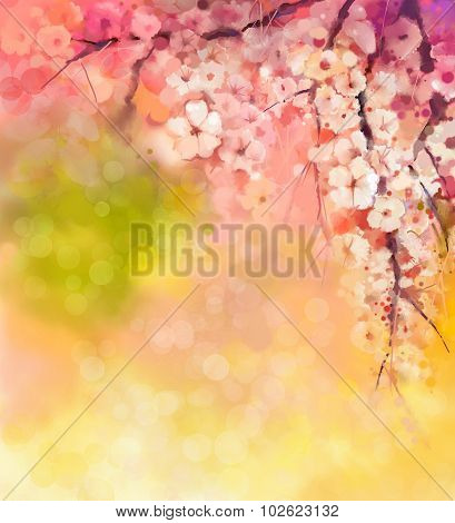 Watercolor Painting Cherry Blossoms flower