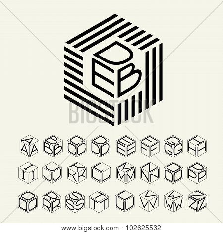 Modern monogram cube, hexagon of the strips, and three letters inscribed. Plus a set of letters to c