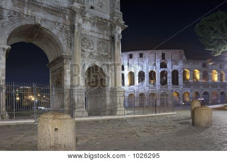constantine arch and coliseum in rome (italy) poster