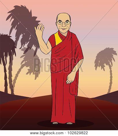 Cartoon figure of buddhist monk. Vector
