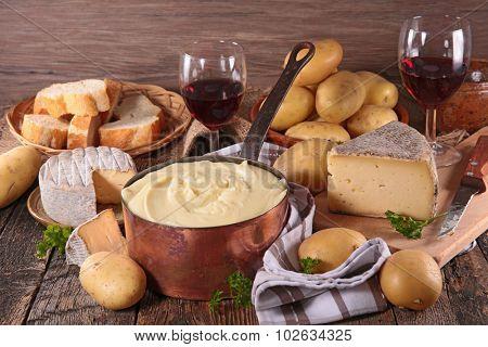 aligot, cheese,bread and wine
