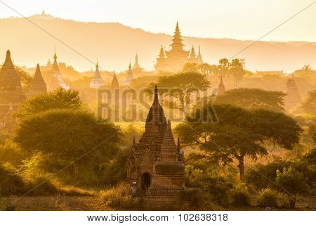 Warm sunset on the pagoda landscape in the plain of Bagan, Myanmar (Burma)
