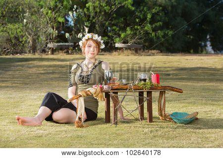 Lady In Wreath At Pagan Altar