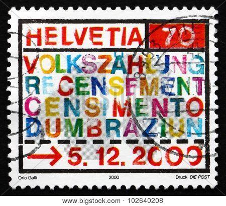 Postage Stamp Switzerland 2000 2000 Census