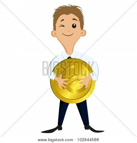 Businessman Holding A Big Coin