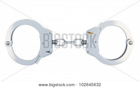 Steel Police Handcuffs Isolated Over White.