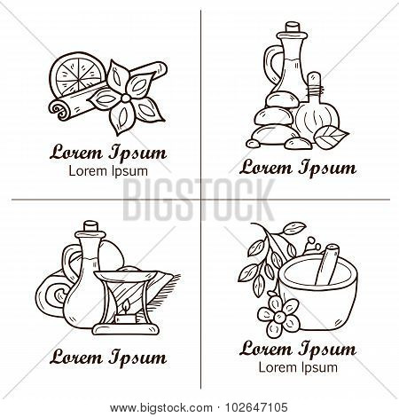 Set of cartoon ayurvedic logos or badges in hand drawn style: herbs, stones, oil, spices, aromathera