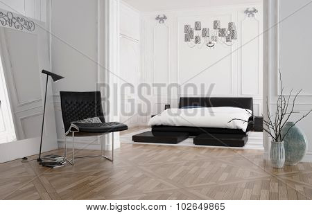 3d render of a modern spacious bedroom interior with a recessed bed in an alcove and white wood panelling on the walls with a hardwood parquet floor, lamp and chair. 3d rendering.