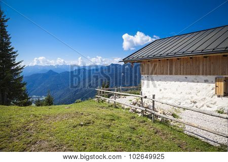 Hiking trail in the Bavarian Prealps near the Austrian border