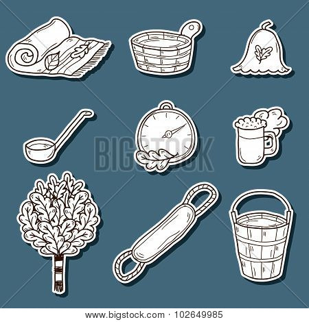 Set of hand drawn sauna stickers: broom, towel, hat, wisp, beer, steam. Relaxation, health care or t