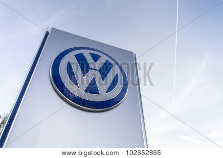 Volkswagen car maker logo on a building of czech dealership
