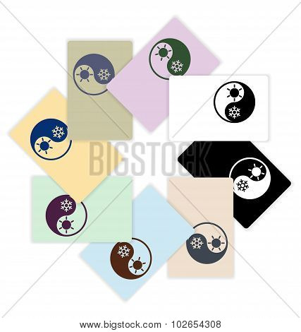 Symbol of climate balance in shape yin-yang as firm style on colored cards design - vector poster