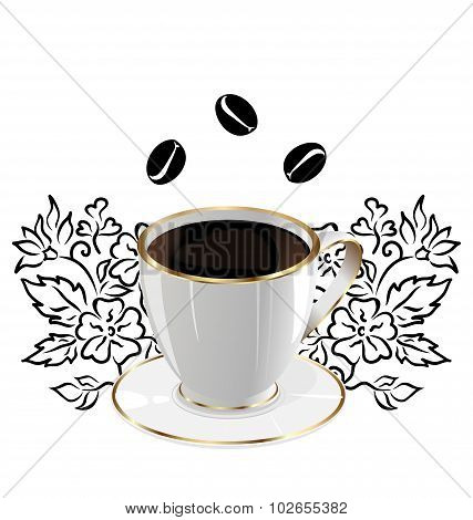 Cup of coffee isolated with floral design elements and coffee be