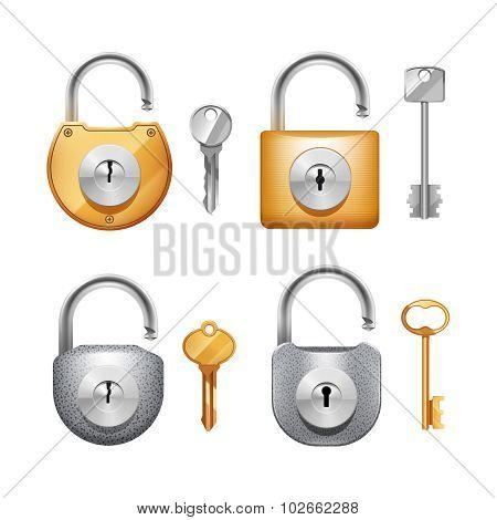 Padlocks And Keys Realistic Set