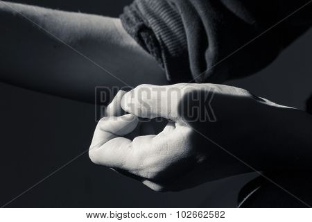 Close Up Black And White Shot Of A Hand