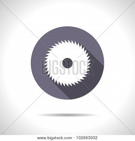 Vector flat circular saw icon on color circle poster