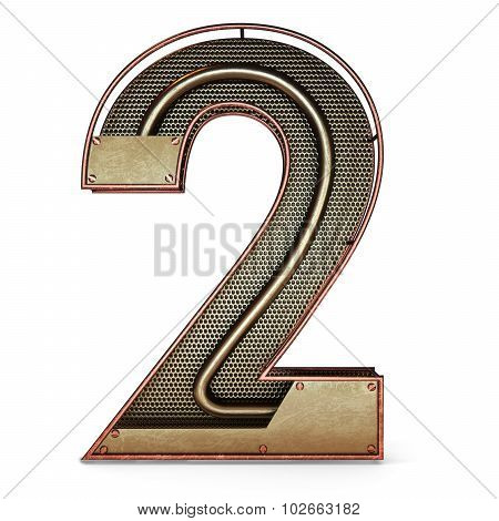 3d number two 2 symbol with rustic gold metal