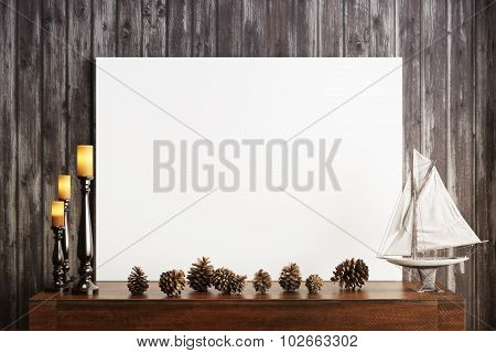Mock up poster with candles and a rustic wood background