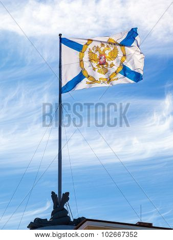 St. Andrew's Flag On The Admiralty Building In St. Petersburg, Russia