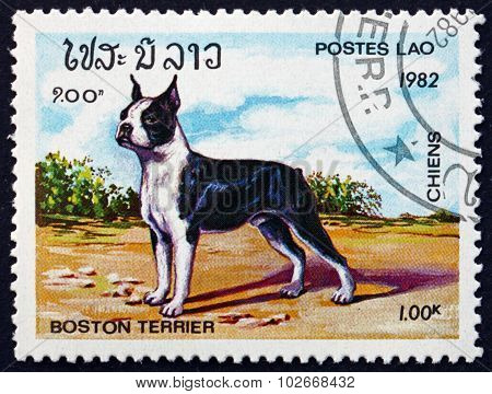 Postage Stamp Laos 1982 Boston Terier, Dog